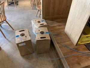 名古屋市中区のビル、飲食店にてIPカメラの取付及びLAN配線電気工事