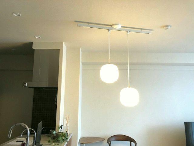 名古屋市瑞穂区 照明器具取付の電気設備工事 ガラスペンダントライト高さ調節